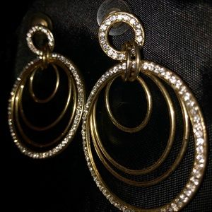 Gold Tone Rhinestone Multi Hoop Pierced Earrings